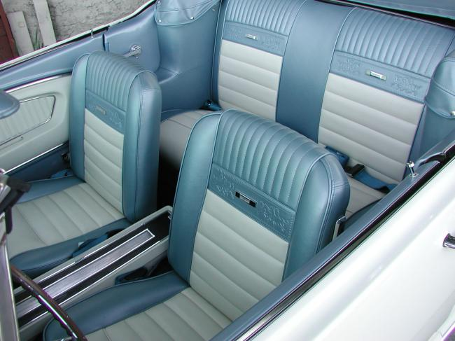 White 1966 mustang convertible with blue pony interior for 1966 ford mustang pony interior